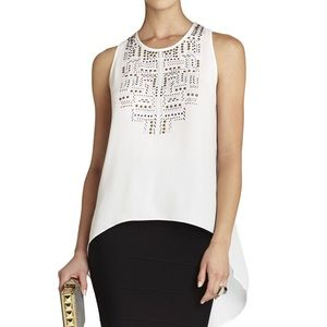 Bcbgmax White Danna Studded High Low Blouse